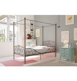 DHP DHP Metal Canopy Bed with Sturdy Bed Frame - Twin Size (Pewter)
