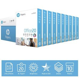 HP HP Printer Paper 8.5x11 Office 20 lb 10 Ream Case 5000 Sheets 92 Bright Made in USA FSC Certified Copy Paper HP Compatible 112110C