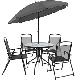 Flash Furniture Flash Furniture Nantucket 6 Piece Black Patio Garden Set with Table, Umbrella and 4 Folding Chairs