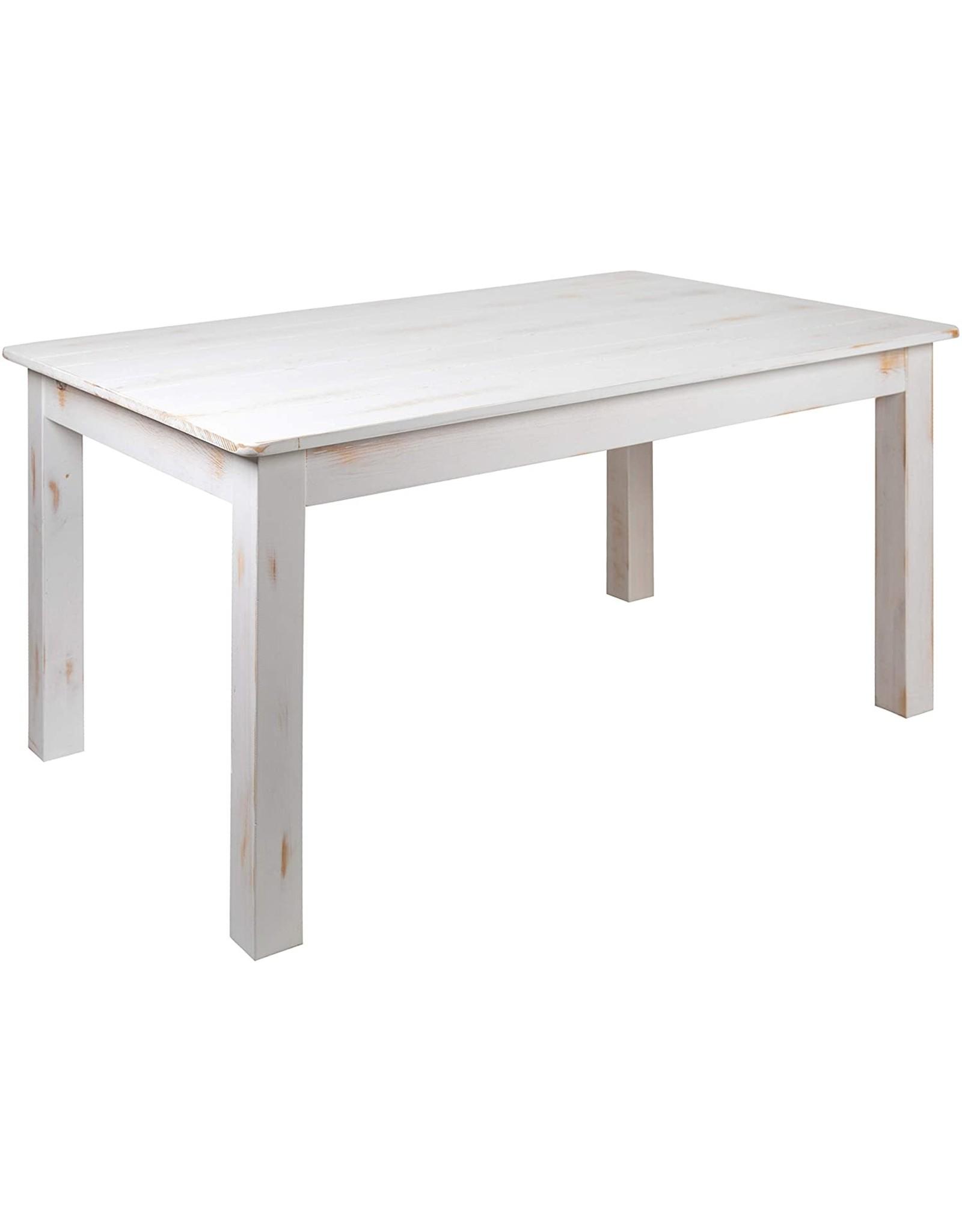 "Flash Furniture Flash Furniture HERCULES Series 60"" x 38"" Rectangular Antique Rustic White Solid Pine Farm Dining Table"