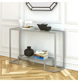 Henn&Hart Henn&Hart Modern Entryway, Accent Glass Shelf for Hallway, Sofa Living Room, Easy Assembly Console Table, Silver