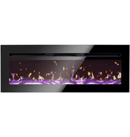 """BizHomart BizHomart Doris Electric Fireplace Recessed and Wall Mounted for 2X6 Stud Log & Crystal Remote Control with Timer 1500 Watt Heater, 48"""", Black"""