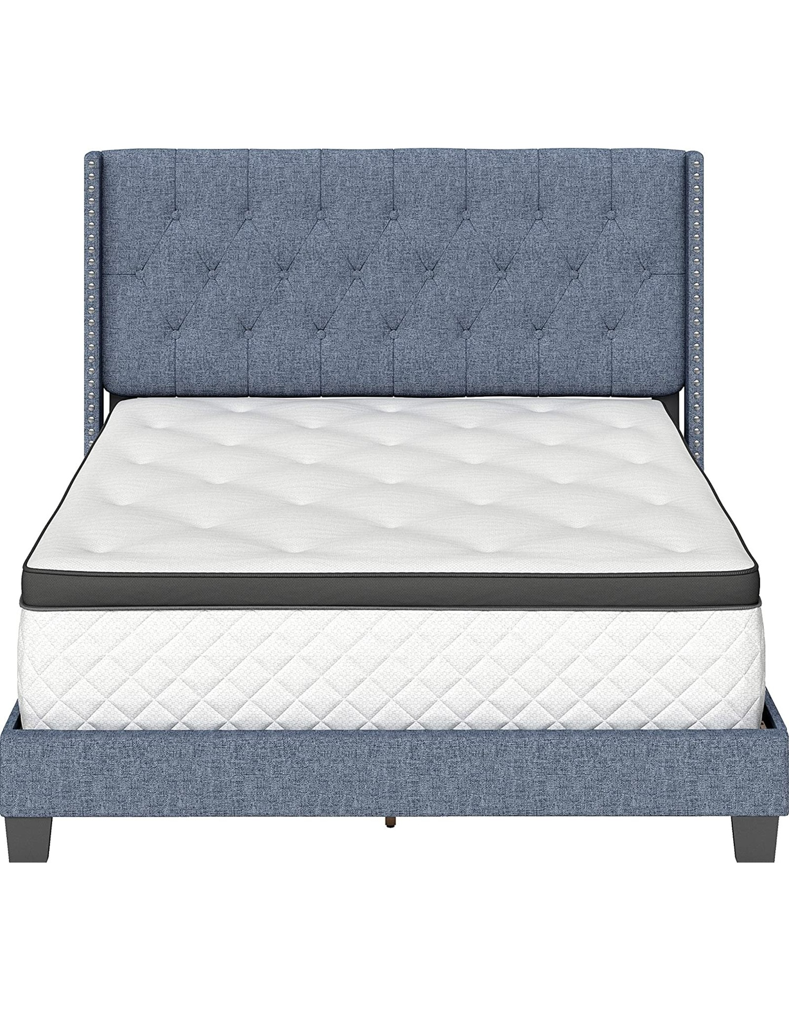 Boyd Sleep Boyd Sleep Mia Upholstered Button Tufted Platform Bed Frame Mattress Foundation with Headboard and Strong Wood Slat Supports: Linen, Blue, King