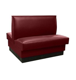 """American Tables & Seating American Tables & Seating QAD-36-Sangria-ARM-120-M Plain Back Upholstered Booths, Double, 36"""" Height, Deep Red"""