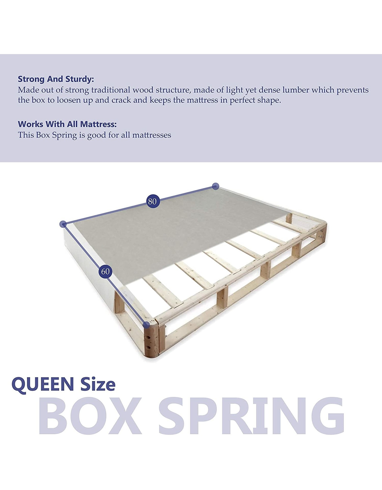 Continental Sleep Continental Sleep Fully Assembled Split Wood Traditional Boxspring/Foundation, Queen, White/Grey