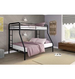 DHP DHP Twin-Over-Full Bunk Bed with Metal Frame and Ladder, Space-Saving Design, Black