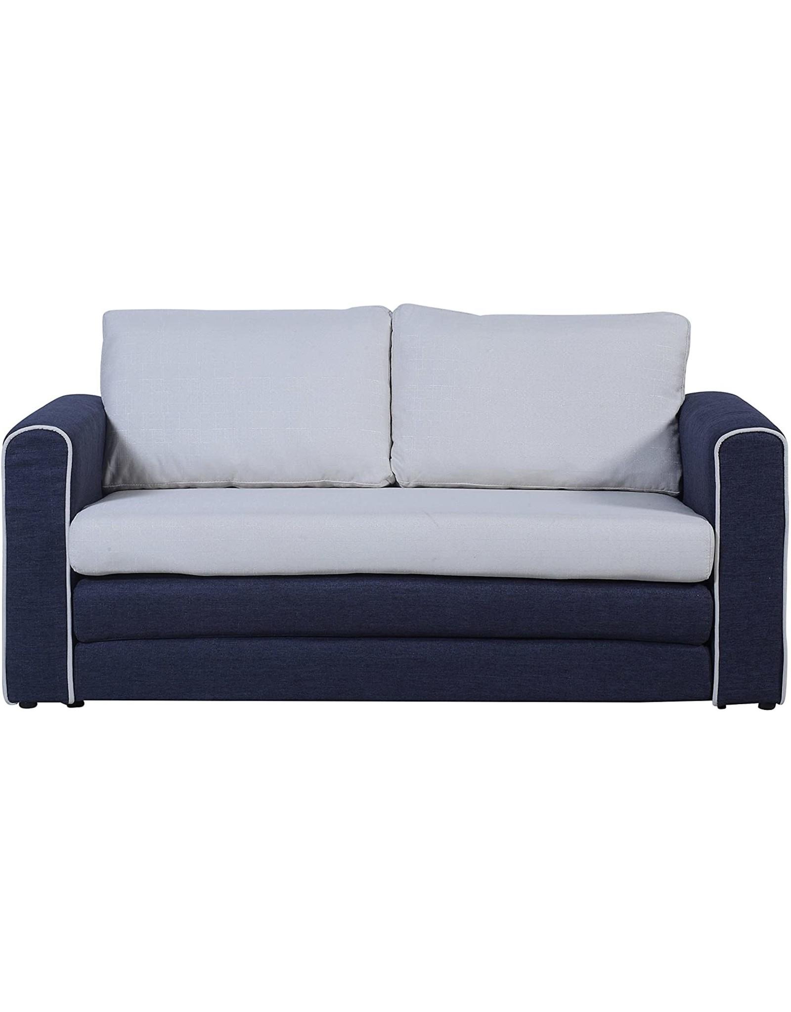 Divano Roma Furniture Divano Roma Furniture Modern Sofas, Dark Blue/Beige