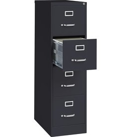 Lorell Lorell 4-Drawer Vertical File with Lock, 15 by 25 by 52-Inch, Black