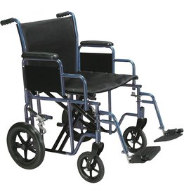 Drive Medical Drive Medical Bariatric Heavy Duty Transport Wheelchair  Swing-Away Footrest with 20-Inch seat  Blue
