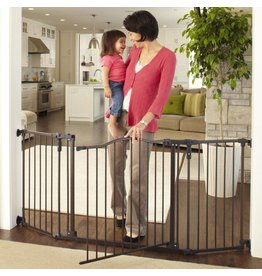 """Toddleroo by North States Toddleroo by North States 72 wide Deluxe Décor Baby Gate: Sturdy extra wide baby gate with one hand operation. Hardware Mount. Fits 38.3 - 72 Wide. (30"""" Tall, Matte Bronze)"""