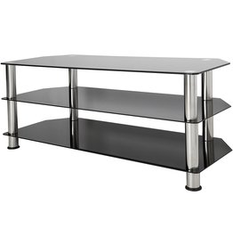 AVF AVF SDC1140-A TV Stand for Up to (not all) 55-Inch TVs, Black Glass, Chrome Legs