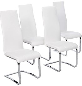 Coaster Home Furnishings Faux Leather Dining Chairs Chrome and White (Set of 4)