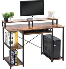 TOPSKY TOPSKY Computer Desk with Storage Shelves/Keyboard Tray/Monitor Stand Study Table for Home Office (Industrial/Rustic Brown)
