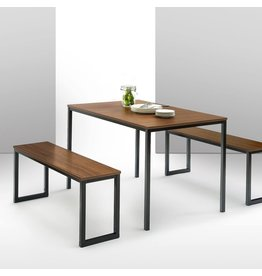 Zinus Zinus Louis Modern Studio Collection Soho Dining Table with Two Benches (3 piece set) - Brown