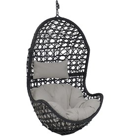 Sunnydaze Sunnydaze Cordelia Hanging Egg Chair Swing, Resin Wicker, Large Basket Design, Outdoor Use, Includes Beige Cushion and Headrest