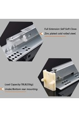 Home Building Store 10 Pairs Self Soft Close Under/Bottom Rear Mounting Drawer Slides 21 inch Concealed Drawer Runners;Locking Devices;Rear Mounting Brackets;Screws and Instructions