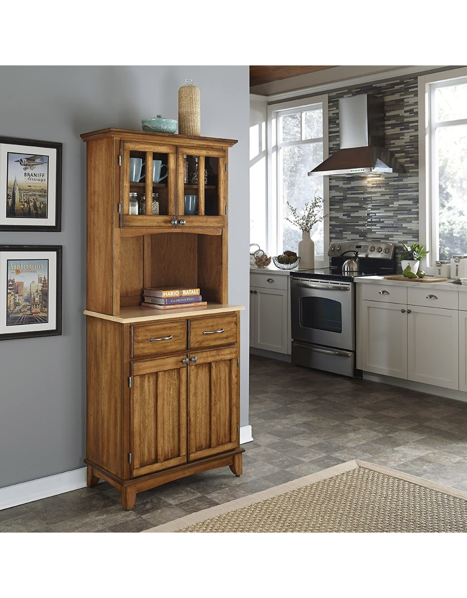 Home Styles Home Styles Buffet of Buffets Cottage Oak with Natural Wood Top, Hutch, Two Wood Door Panels, Two Drawers with Brushed Steel Pulls, Two Plexiglas Framed Doors, and Adjustable Shelves