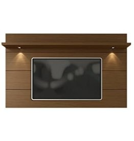 """Manhattan Comfort Manhattan Comfort Cabrini 2.2 Panel Collection Floating Wall TV Panel TV Wall Mount with Shelf, 85.62"""" L x 8.46"""" D x 94.35"""" H, Nut Brown"""