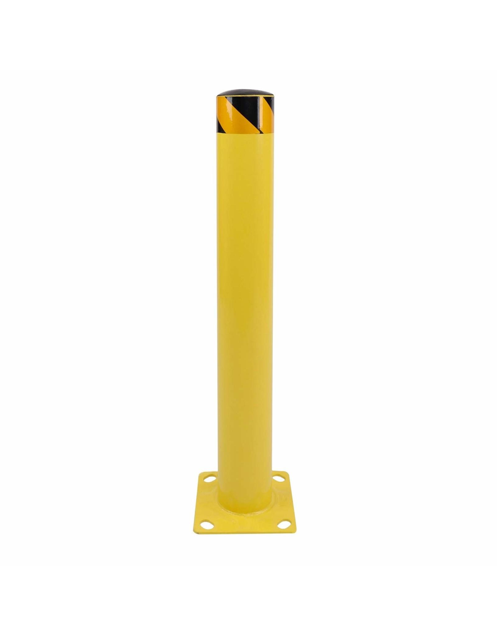 BISupply BISupply Safety Bollard Post 36 x 4.5 Inches - Yellow Pipe Bollards Steel Parking Barrier for Garage or Parking Lot, 1pk