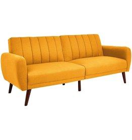 Sunrise Coast Sunrise Coast Torino Modern Linen-Upholstery Futon with Wooden Legs, Dijon