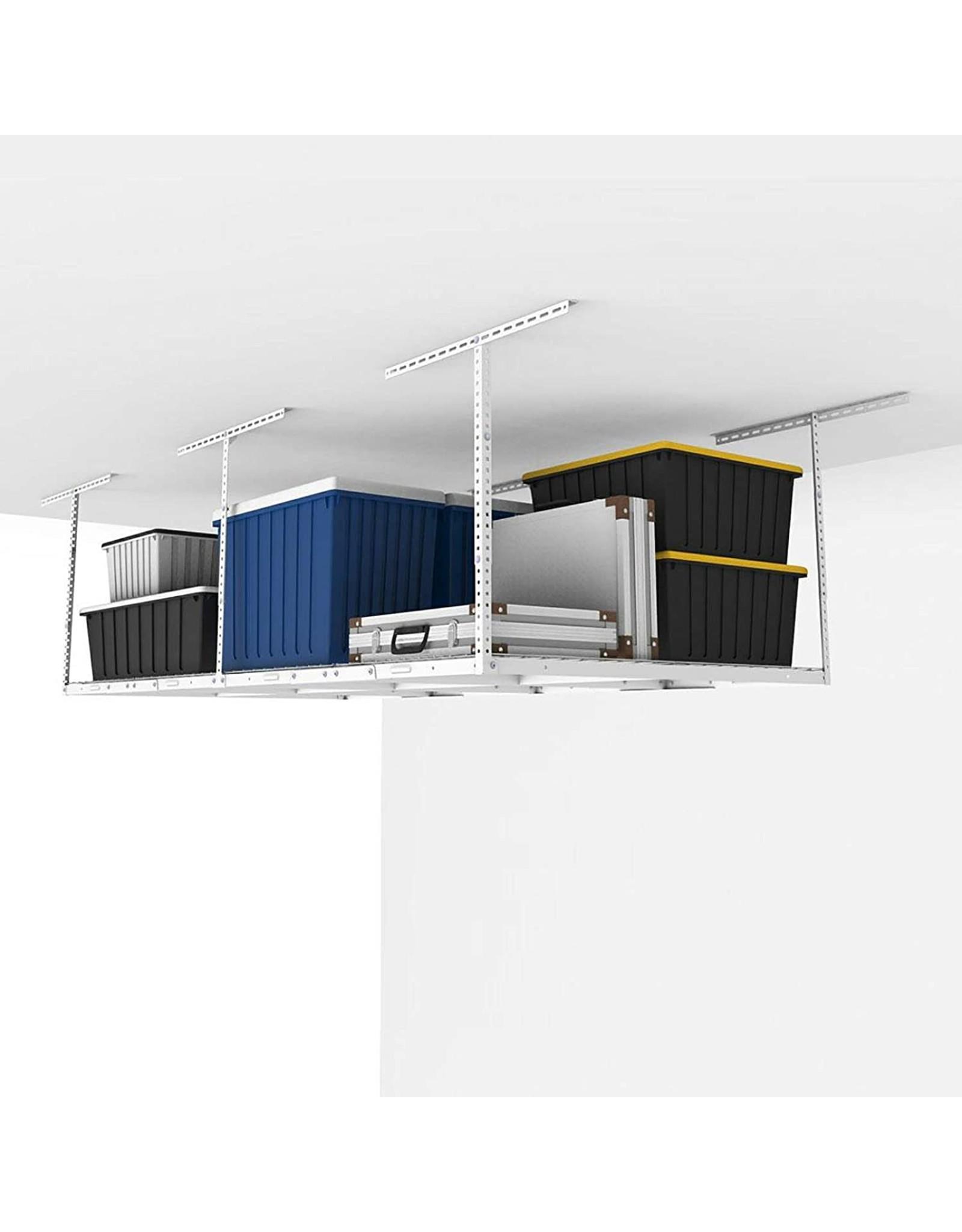 "FLEXIMOUNTS FLEXIMOUNTS 4x8 Overhead Garage Storage Rack Adjustable Ceiling Storage Rack Heavy Duty, 96"" Length x 48"" Width x (22.5''-40"" Ceiling Dropdown), White"