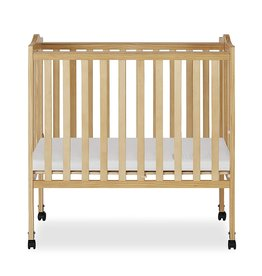 Dream On Me Dream On Me 2-in-1 Lightweight Folding Portable Stationary Side Crib in Natural, Greenguard Gold Certified