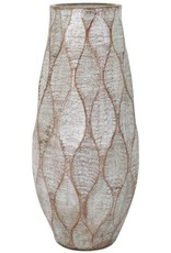 """Imax Imax 10471 TY Outer Banks, Handcrafted Terracotta, Decorative Oversized Vase, 28.25"""" H x 12.5"""" D, Silver"""