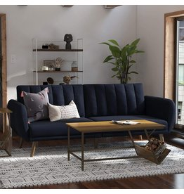 Novogratz Novogratz Brittany Sofa Futon - Premium Upholstery and Wooden Legs - Navy Blue