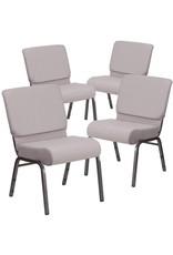 Flash Furniture Flash Furniture 4 Pack HERCULES Series 21''W Church Chair in Gray Dot Fabric - Silver Vein Frame