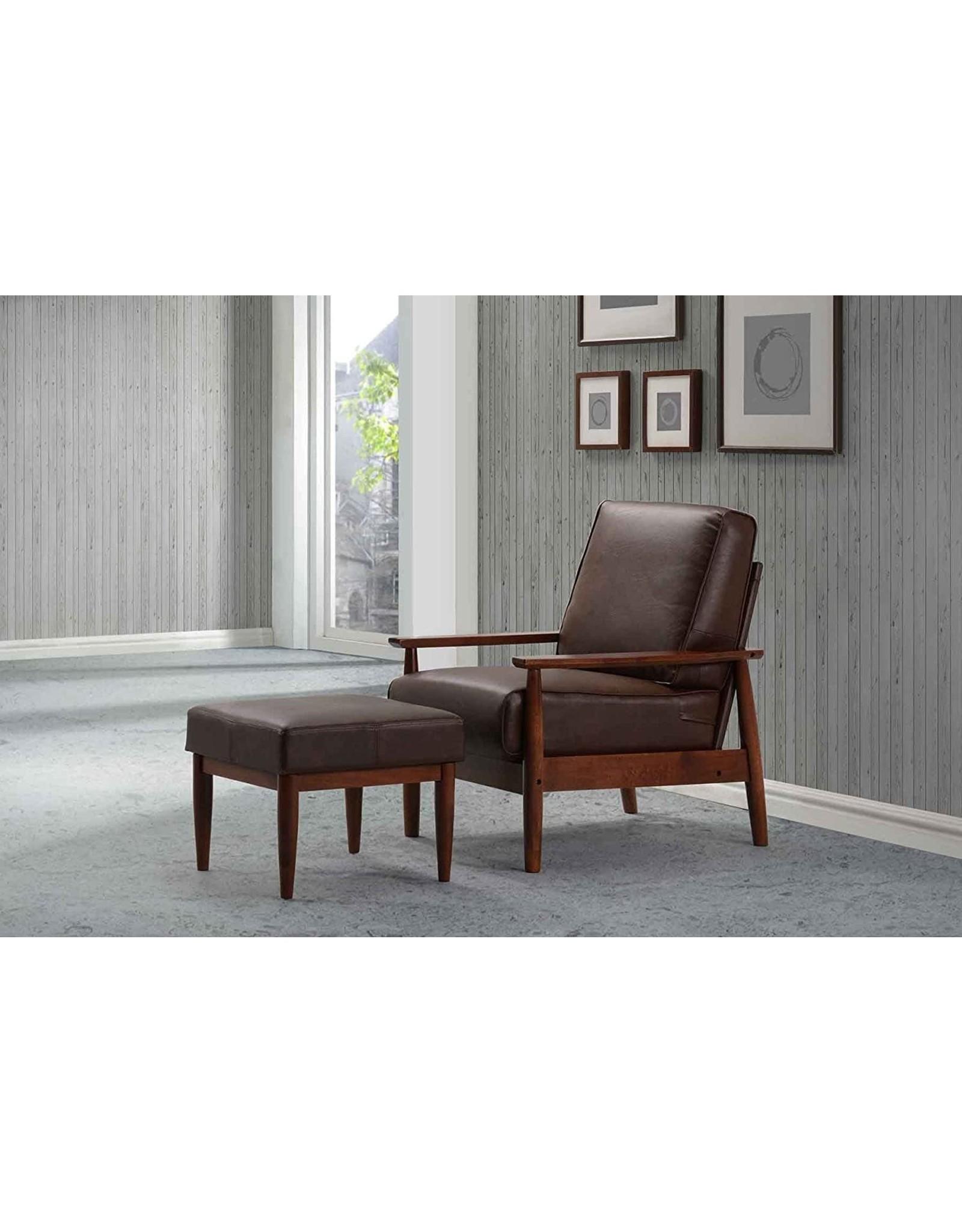 Fat June fat june IT 1190LC CHR-PU GER LTHR DRK B Faux Leather Bergen Chair, Dark Brown
