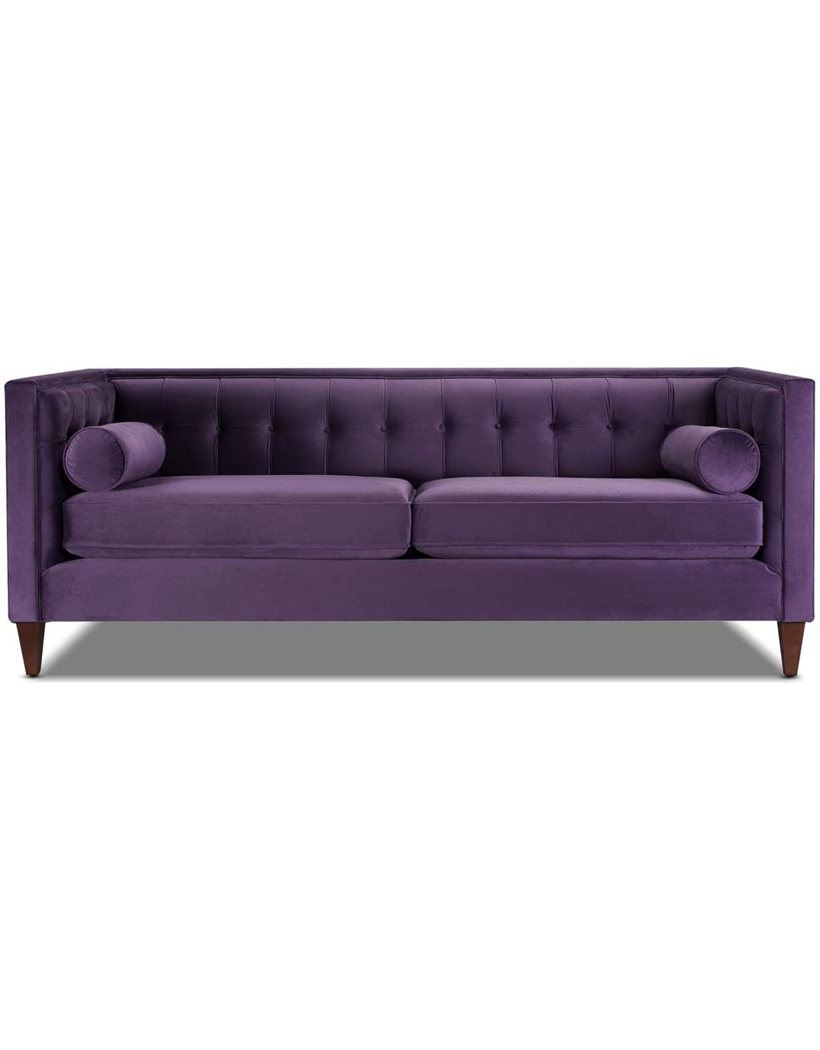 Jennifer Taylor Jennifer Taylor Home Jack Collection Modern Hand Tufted Upholstered Sofa With 2 Bolster Pillows and Hand Finish Legs, Purple
