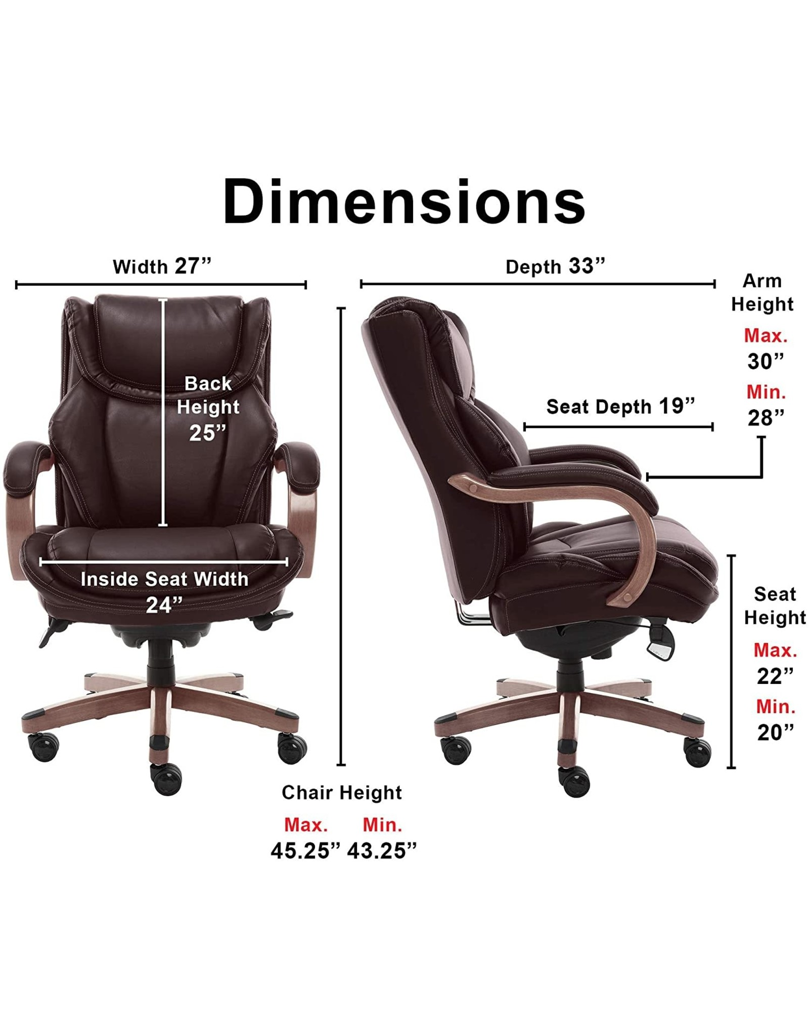 La-Z-Boy LaZBoy Big & Tall Executive Office Comfort Core Cushions, Ergonomic High-Back Chair with Solid Wood Arms, Bonded Leather, Coffee Brown