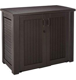 Rubbermaid Rubbermaid Decorative Patio Chic Weather Resistant Outdoor Storage Cabinet, Black Oak