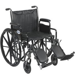 Drive Medical Drive Medical Silver Sport 2 Wheelchair with Various Arms Styles and Front Rigging Options, Black, 20 Inch