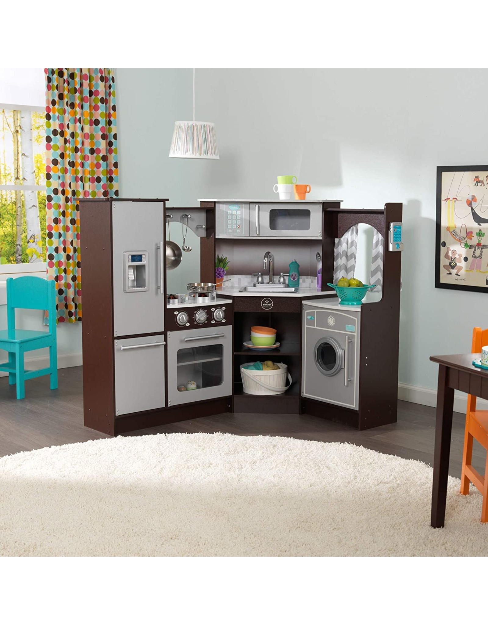 KidKraft KidKraft (53365) Ultimate Corner Play Kitchen with Lights & Sounds, Espresso