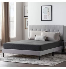 LUCID LUCID Upholstered Bed withSquare TuftedHeadboard-Linen Inspired Fabric –Sturdy Wood Build –No Box Spring Required Platform, Twin XL, Stone
