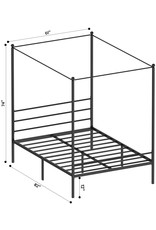 JOM JOM Canopy Bed Frame Queen Size Black Metal 4 Poster Mattress Foundation Modern Post Corner with Headboard for Girls Adults