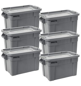 Rubbermaid Commercial Products Rubbermaid Commercial Products BRUTE Tote Storage Container with Lid, 20-Gallon, Gray (FG9S3100GRAY) (Pack of 6)