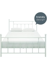 DHP DHP Manila Metal Bed with Victorian Style Headboard and Footboard - Queen Size (White)