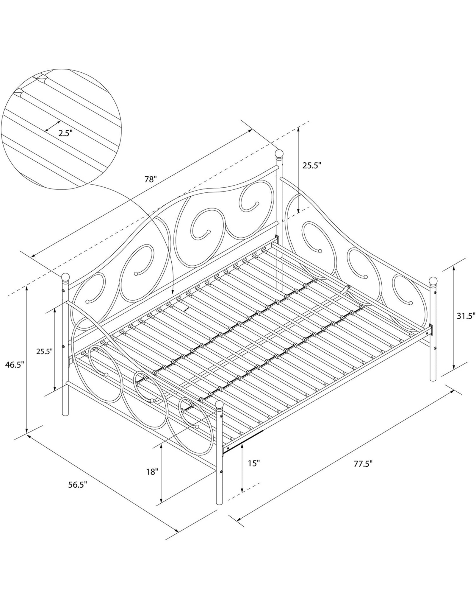 DHP DHP Victoria Daybed, Full Size Metal Frame, Multi-functional Furniture, Bronze