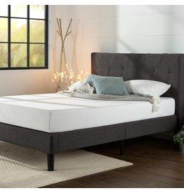 Zinus ZINUS Shalini Upholstered Platform Bed Frame / Mattress Foundation / Wood Slat Support / No Box Spring Needed / Easy Assembly, Dark Grey, King