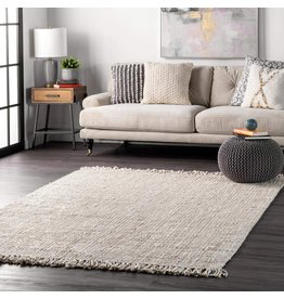 """nuLOOM nuLOOM Hand Woven Chunky Natural Jute Farmhouse Area Rug, 5' x 7' 6"""", Off-white"""