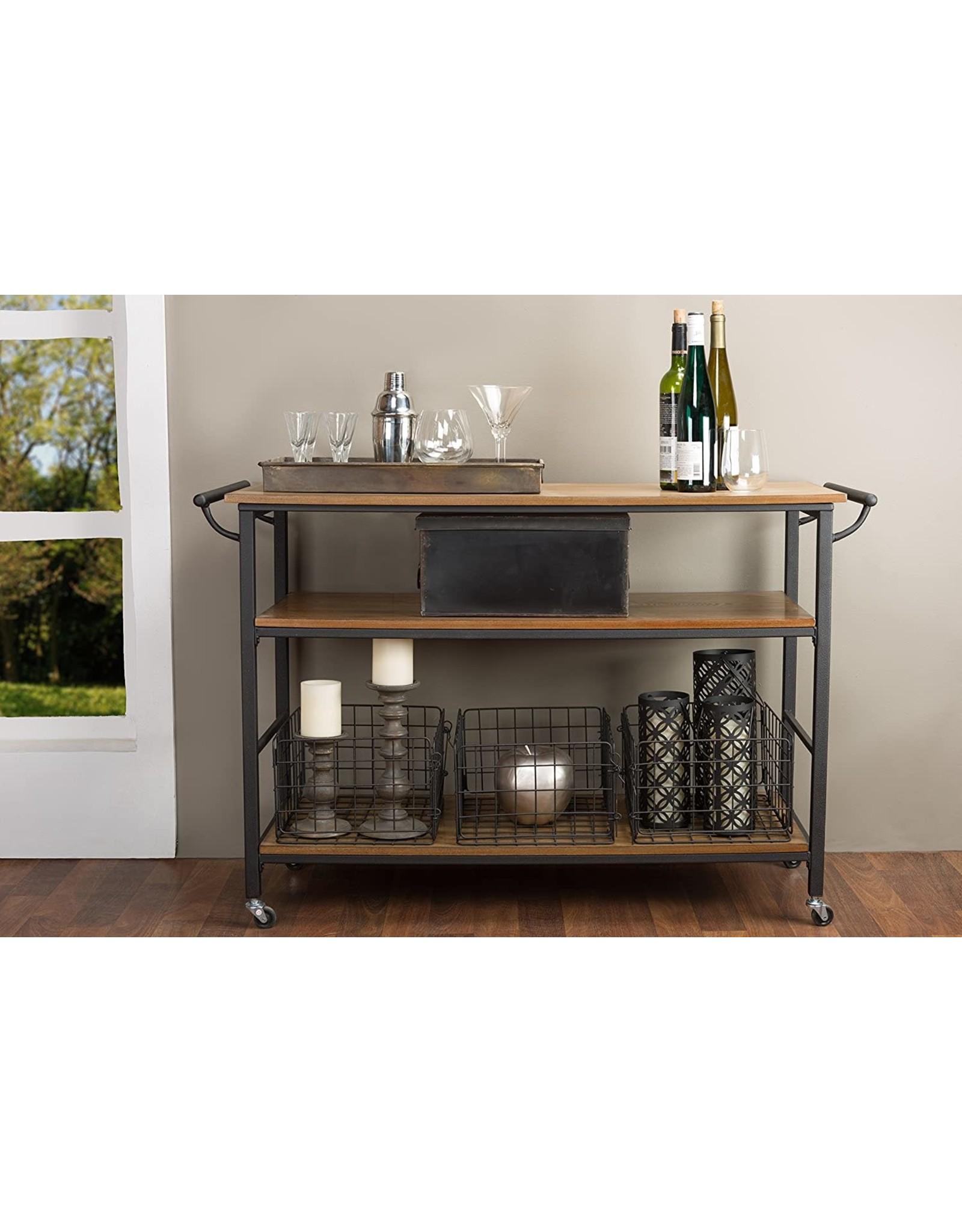 Baxton Studio Baxton Studio Lancashire Wood and Metal Kitchen Cart, Brown