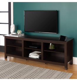 Walker Edison Walker Edison Wren Classic 6 Cubby TV Stand for TVs up to 80 Inches, 70 Inch, Espresso