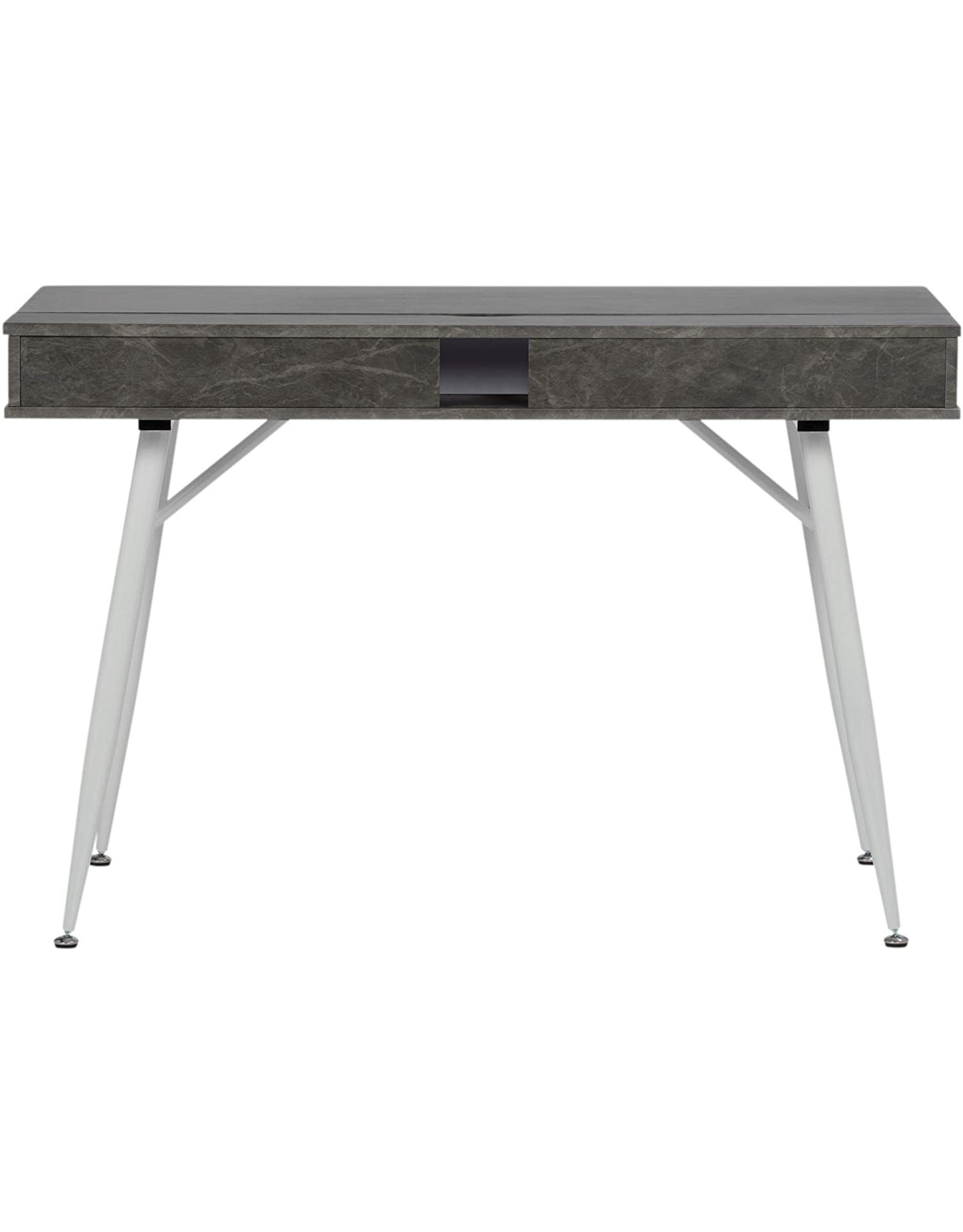 Calico Designs Calico Designs 51252 Alcove Modern Large Split Drawer in White/Cement Gray Desk with Storage, White/Cement Gray, White/Cement Gray