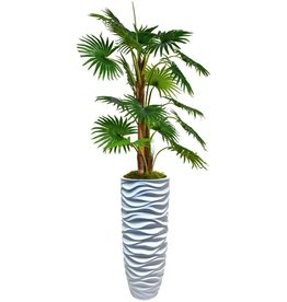 """Vintage Home Vintage Home Decorative Artificial Fan Palm Tree with Burlap Kit in Resin Planter, 70"""", 70 Inch Tall, Green"""