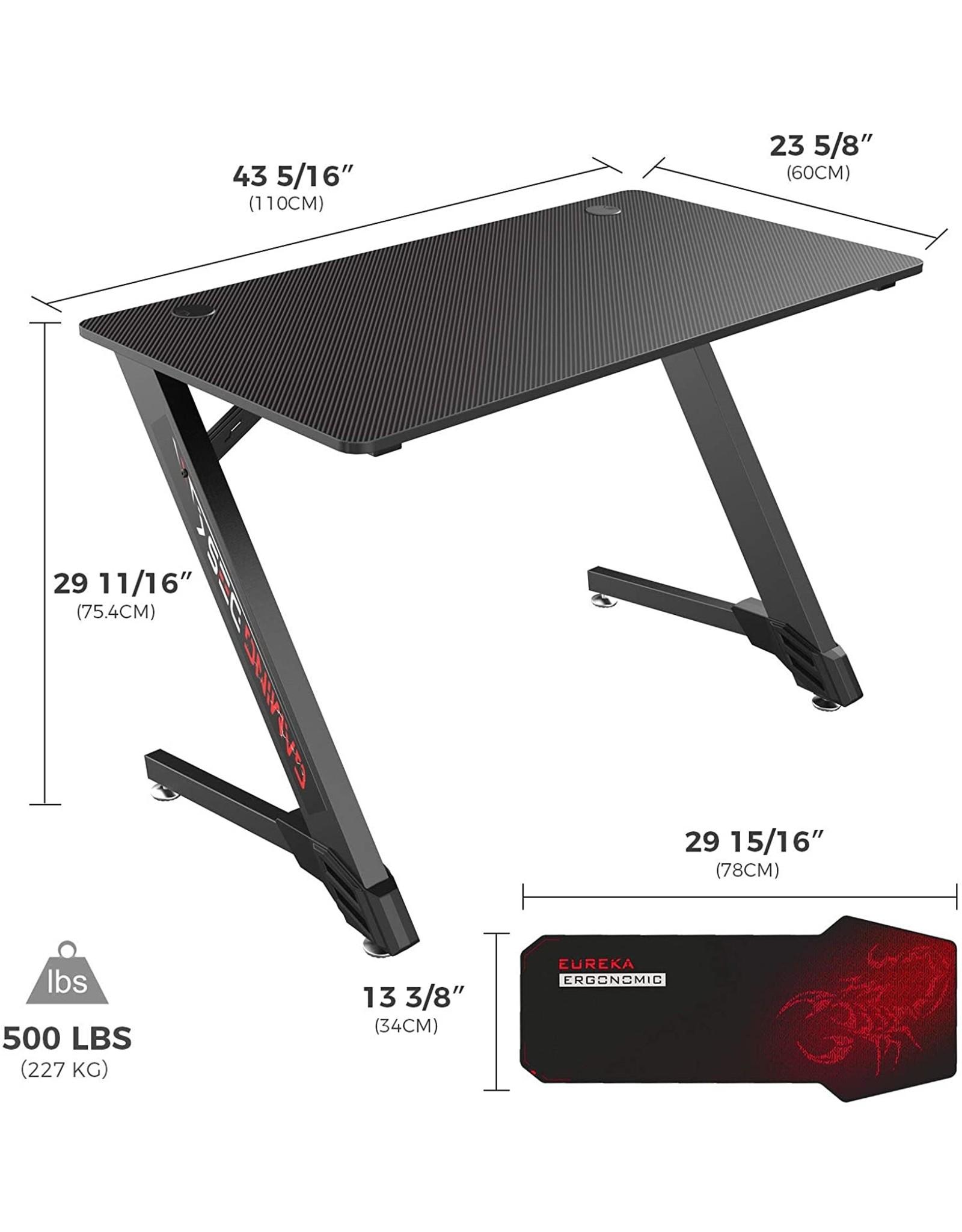"EUREKA ERGONOMIC EUREKA ERGONOMIC Gaming Desk 43"" Home Office Computer PC Desks, Black"