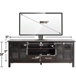 CHADIOR CHADIOR Wood TV Stand for TVs up to 65 Inch Farmhouse TV Entertainment Center with Storage Shelves and Cabinets with Glass Doors 60 inch Wide Long TV Media Stand TV Console Table, Espresso