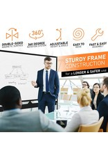 KAMELLEO Mobile Whiteboard - 96x46 Large Height Adjust 360degree Rolling Double Sided Dry Erase Board, Magnetic White Board on Wheels, Office Classroom Portable Easel with Stand, Flip Chart Holders and Pad  Black