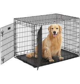 """MidWest Homes for Pets MidWest Ultima Pro (Professional Series & Most Durable Dog Crate)  Extra-Strong Double Door Folding Metal Dog Crate w/Divider Panel, Floor Protecting """"Roller Feet"""" & Leak-Proof Plastic Pan"""